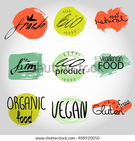 Organic,bio,vegan frash eco natural shape set. Organic food labels vector set. Fresh healthy food icons. lables for restaurant menu or food package design ,grunge Badges, Hand drawing painting