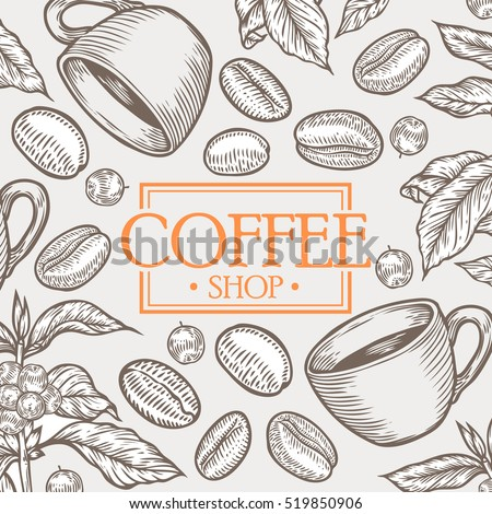 Organic coffee shop leaf, bean vector hand drawn template packaging cosmetic, label, banner, poster, identity, branding. design with sketch illustration of coffee sketch. Food and drink organic shop