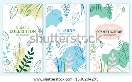 Organic Collection, Eco Shop, Natural Cosmetic Store with Premium Quality Cards or Posters Set. Selling Products Advertisement. Natural Design with Leaves in Different Colors. Herbs.