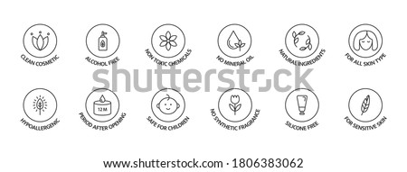 Organic cosmetic labels set. Product free allergen line icons. Natural products badges. GMO free emblems. Organic stickers. Vegan, bio food. Healthy eating. Vector illustration.