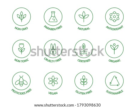 Organic cosmetic line icons set. GMO free emblems. Natural product badges. Product free allergen labels. Organic stickers. Healthy eating. Vegan, bio food. Vector illustration.