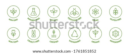 organic cosmetic line icons set