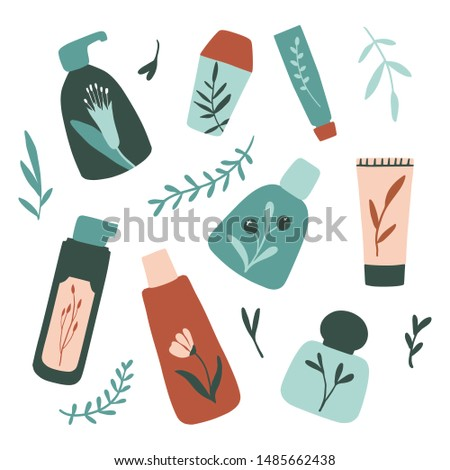 Organic cosmetic packaging: bottles, jars, tubes. Herbal cosmetics collection. Flat hand drawn style. Woman stuff, eco girls accessory concept. Natural face care products. Vector illustration