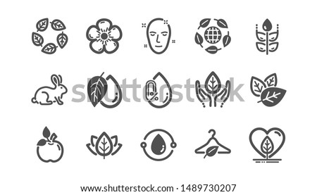Organic cosmetics icons. No alcohol free, synthetic fragrance, fair trade. Sustainable textiles, animal testing, eco organic icons. Classic set. Quality set. Vector