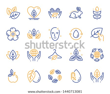 Organic cosmetics line icons. No alcohol free, synthetic fragrance. Slow fashion, sustainable textiles icons. Fair trade, eco organic cosmetics. Gluten free, animal testing. Vector