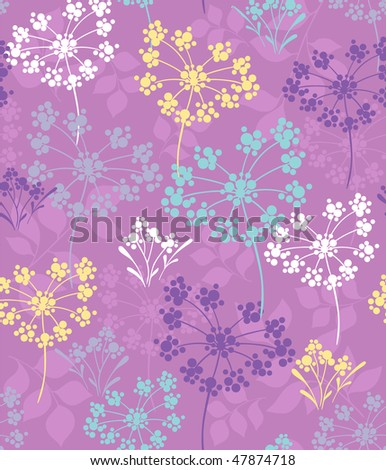 Organic Dandelion Bursts Seamless Repeat Pattern- #3 in A Walk in the Park Design Collection Series- Vector Illustration