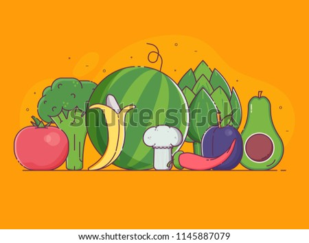 Organic design concept with pile of fresh fruits, vegetables and berries in flat design. Vegetable and fruit harvest background with veggies. Raw vegan and vegetarian food banner for advertising.