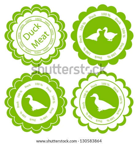 Organic farm and forest goose and duck meat food labels illustration collection