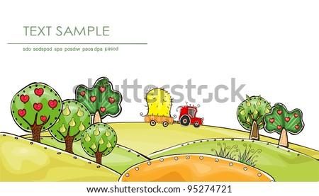 Organic farm background - stock vector