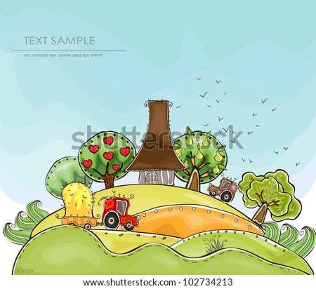 "Organic farm background ""Happy world"" collection"
