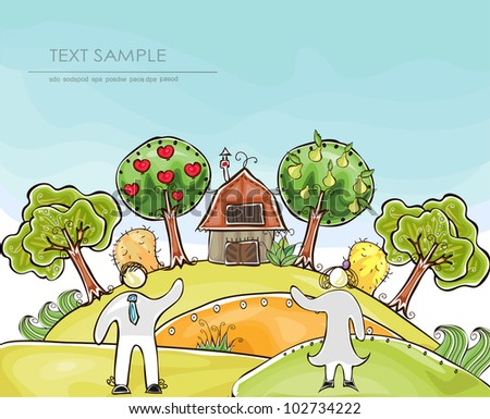 "Organic farm background ""Happy world"" collection"