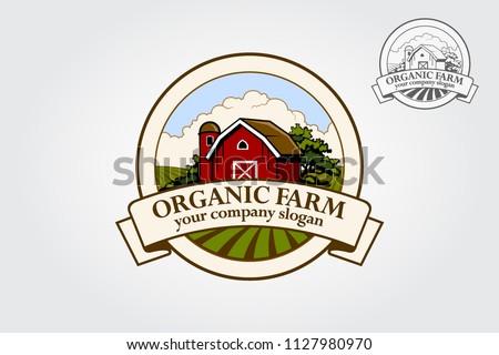 Organic Farm  logo Illustration. Cartoon illustration of red farm barn.