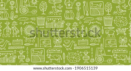 Organic Farm Seamless Pattern Background For your Design. Harvest Festival. Agriculture collection. Organic farming eco concept. Fresh products, locally grown and organic food. Farmer's Market. Vector