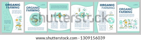 Organic farming brochure template layout. Ecological agriculture. Flyer, booklet, leaflet print design with icons. Eco products. Vector page layouts for magazines, annual reports, advertising posters