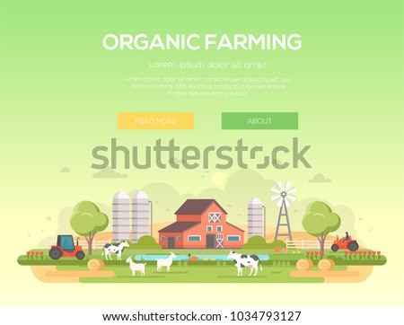 Organic farming - modern flat design style vector illustration on green background with place for text. A countryside landscape with a barn, windmill, haystacks, pond, silage towers