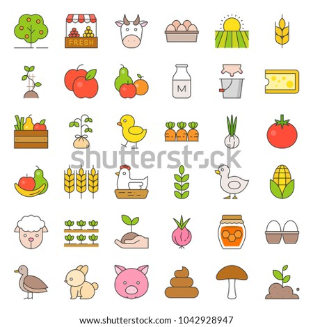 organic farming products icon, such as hen, milk, orange, tomato, honey, sheep, eggs, filled outline icon