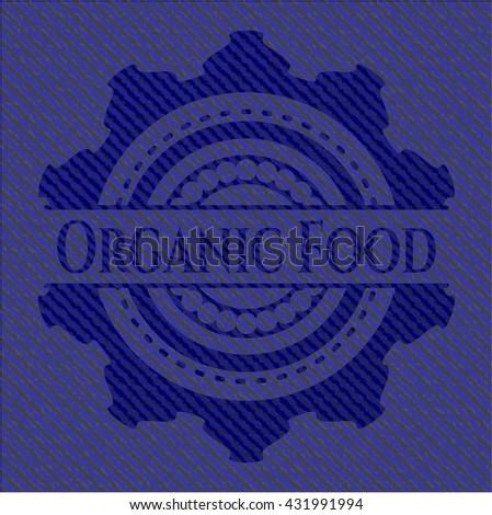 Organic Food badge with denim texture