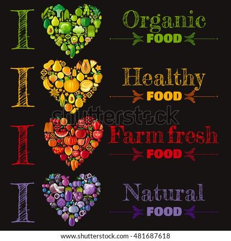Organic food banner set template, heart icons. Fruit vegetable vector illustration. Fruits - strawberry, papaya, melon.Vegetables - onion, broccoli, cauliflower, cucumber. Nuts - peanut, hazelnut.
