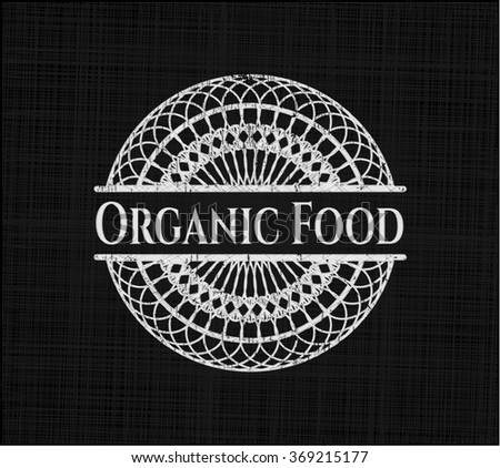 Organic Food chalk emblem written on a blackboard