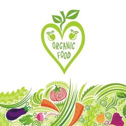 Organic food colorful vegetables vector illustration
