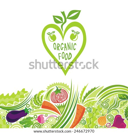 Organic food colorful vegetables vector illustration