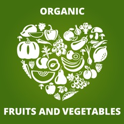 Organic food concept. Heart shape with organic vegetables and fruits icons. Vector illustration