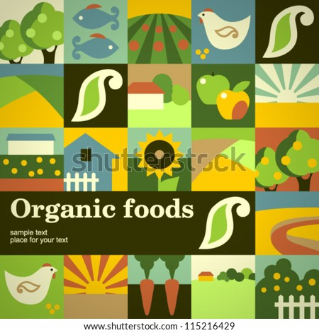 Organic food concept vector background