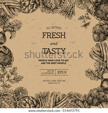 Organic food design template. Fresh vegetables. Vector illustration