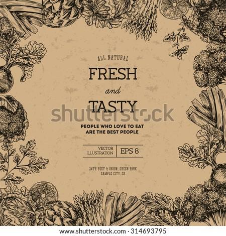 Organic food design template. Fresh vegetables. Vector illustration