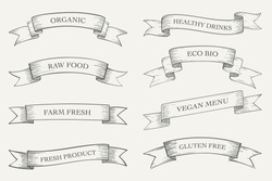 Organic food , Eco products banner collection.