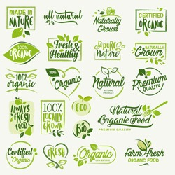 Organic food, farm fresh and natural product icons and elements collection for food market, ecommerce, organic products promotion, healthy life and premium quality food and drink.