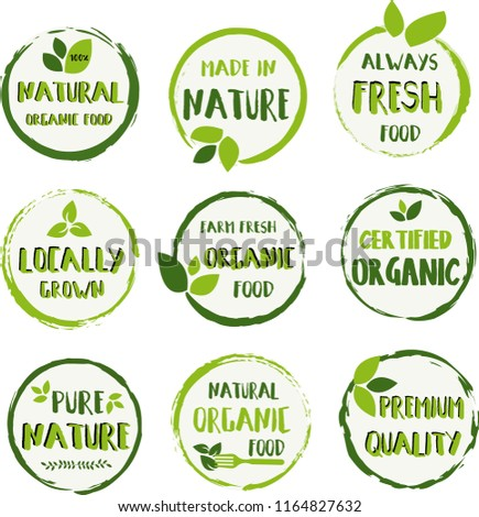 Organic food, farm fresh and natural product labels and badges collection for food badges, tags set for cafe, restaurants, products packaging etc.