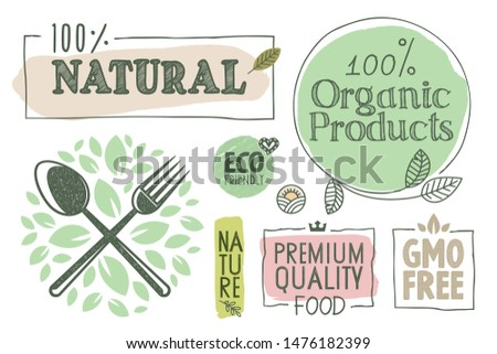 Organic food, farm fresh and natural products labels and badges collection. Vector illustration for food market, e-commerce, restaurant, healthy life and premium quality food and drink promotion.