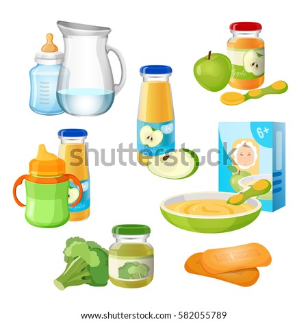 Organic food for babies vector poster. Juices and purees from green apples and broccoli in glass bottles and jars, porridge in pack and in plate with spoon, baby biscuits, baby bottle with jar