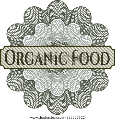 Organic Food gold badge or emblem