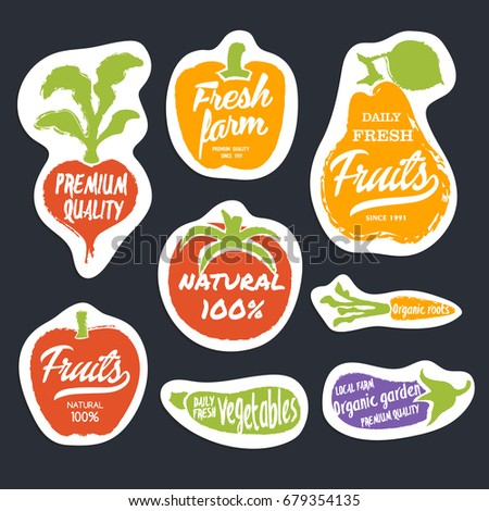 Organic food hand drawn labels set vector illustration. Tomato, peppers, pears, eggplant, carrots, radishes. Fresh farm, premium quality, organic garden, natural fruits and vegetables, healthy diet.