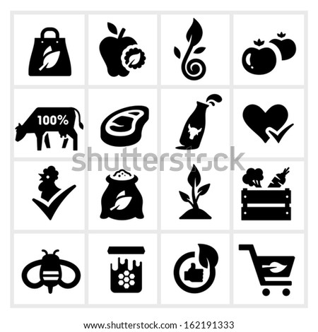 Organic Food Icons, Farm products and Healthy natural none chemical food
