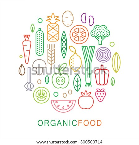 Organic food icons. Vegetarian menu set. Linear style. Vector illustration.