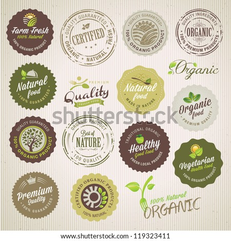 Organic food labels and elements - stock vector