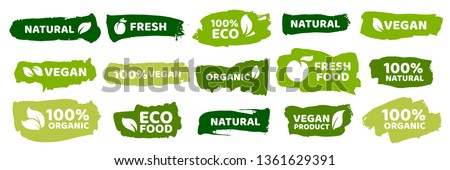 Organic food labels. Fresh eco vegetarian products, vegan label and healthy foods badges. Veganism logo, vegans diet sticker or ecological food product stamp. Vector isolated symbols set