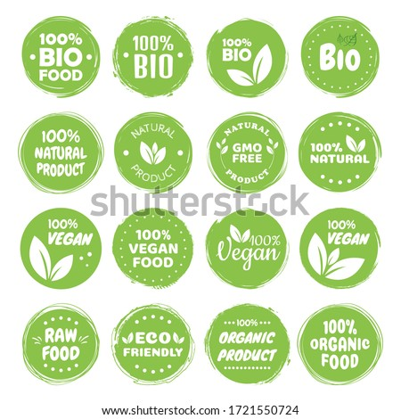 Organic food labels. Fresh eco vegetarian products, vegan label and healthy foods badges. Veganism logo, vegans diet sticker or ecological food product stamp. Vegetarian eco green concept.