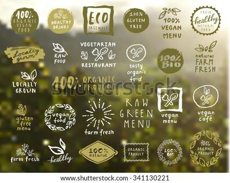 Organic food labels vector set. Fresh healthy food icons. Vintage badges for restaurant menu or food package design on blurred rural background