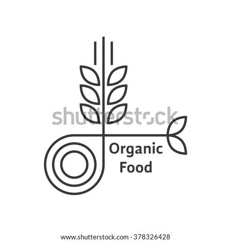 organic food logo with thin line wheat ears. concept of rice, gluten, bio, herbal badge, brewery, bakery mark. isolated on white background. flat style trend modern brand design vector illustration ストックフォト ©