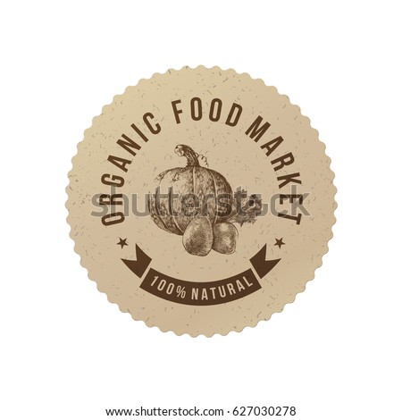 Organic food market round paper emblem with hand drawn vegetables. Vector illustration