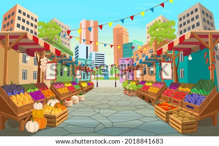 Organic food market street. Food market stalls with fruits and vegetables.Vector cartoon wooden marketplace tents with farm produce.