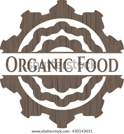 Organic Food retro style wood emblem