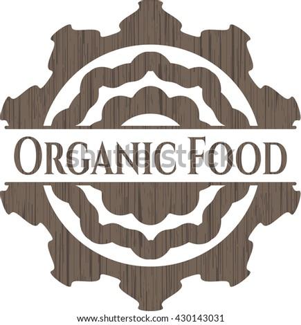 Organic Food retro style wood emblem