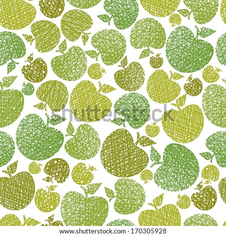Organic food theme seamless background, Apples seamless pattern, vector, hand drawn lines textures used.