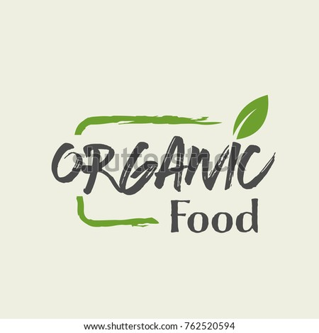 Organic food vector label