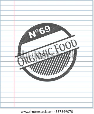 Organic Food with pencil strokes